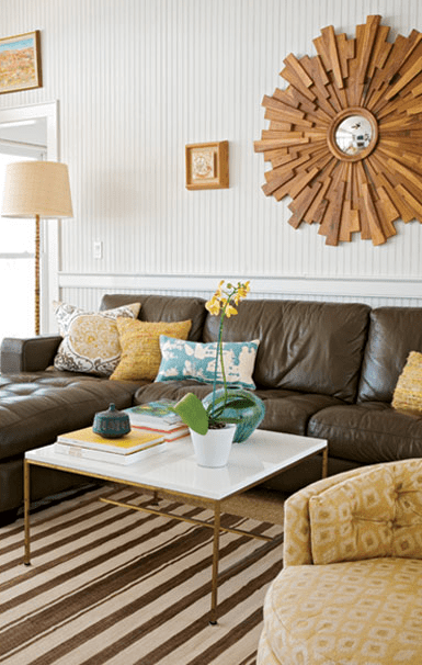 Suzie angie hranowski brown yellow eclectic living room design with leather tufted also rh pinterest