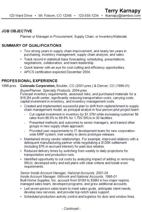Sample Resume for someone seeking a job as a Planner or