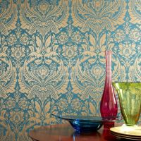 teal and gold wall paper | damask Wallpaper, wallpaper ...