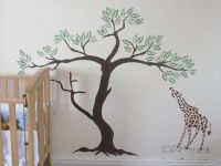 painting palm trees on walls | Giraffe and Acacia Tree ...