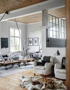 Love the ceilings and pallet coffee tables with casters greige interior design ideas inspiration for transitional home also trend decoration idea deco pinterest open rh