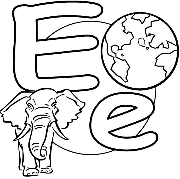 Kindergarten Activities: the letter E, coloring page that