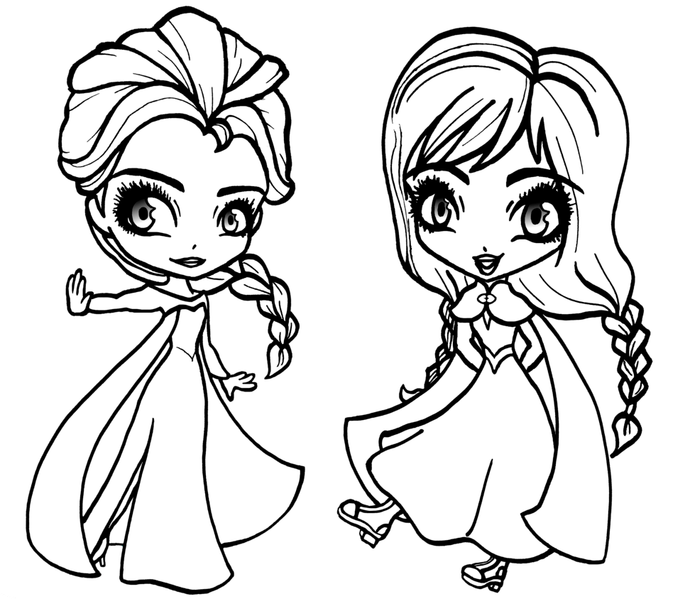 Frozen Drawings Elsa And Anna Easy Chibi Anna And Elsa
