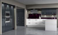 Contemporary Kitchen - Blue Graphite and Acrylic White ...