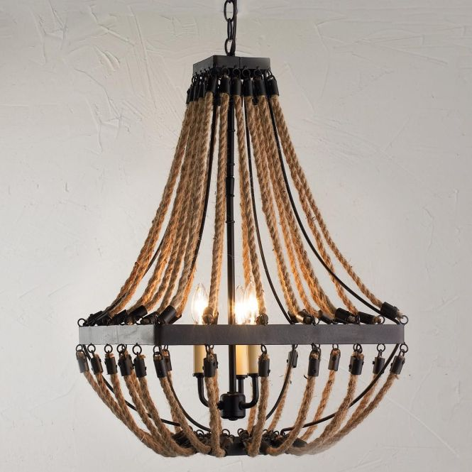 Nautical Rope And Bronze Square Chandelier Adds Rugged Textural Eal To This 3