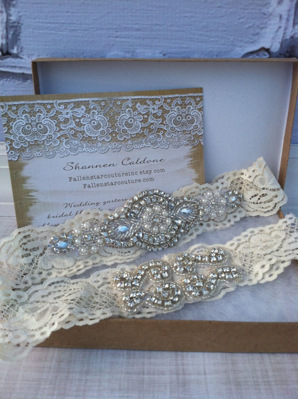 Rhinestone wedding garter  crystal garter  lace garter