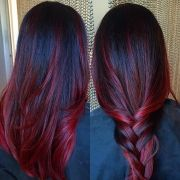striking dark red hair color