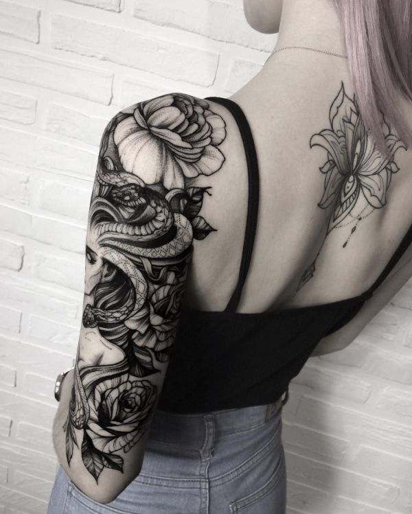 snake woman sleeve tattoo idea