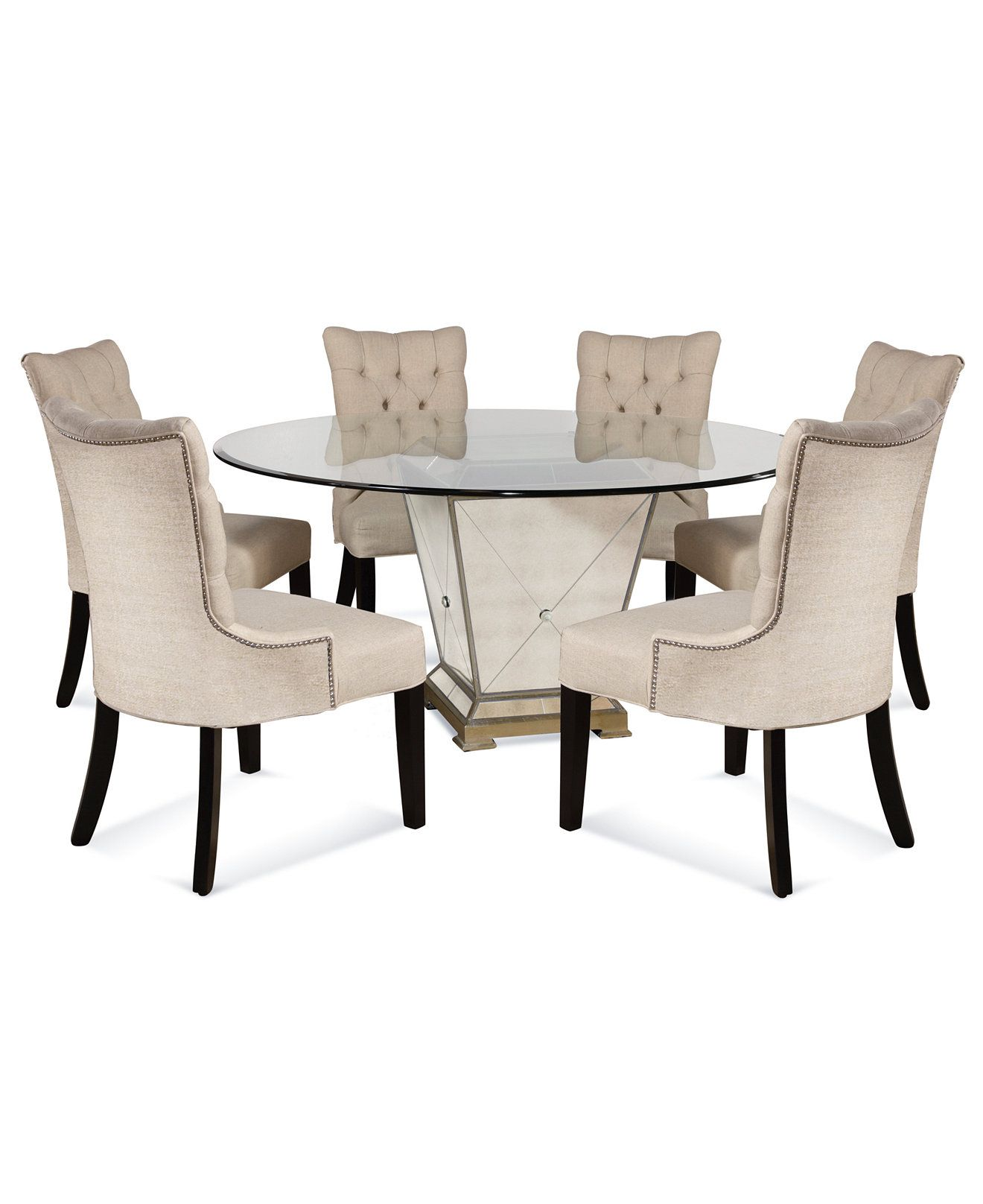 dining table set 6 chairs diy folding chair marais room furniture 7 piece 60 quot mirrored