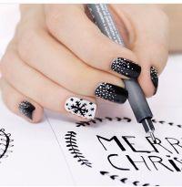 Snowflake black & white nail design | Nails - Christmas ...