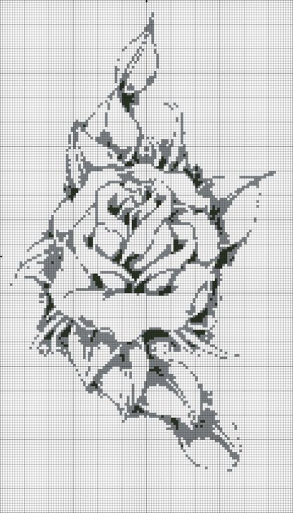 Cross-stitch Rose no color chart available, just use