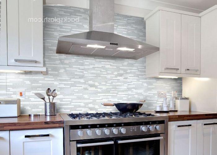 fascinating white glass tile backsplash kitchen picture inspirational also
