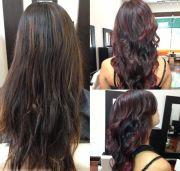 dying black-dark brown hair burgundy