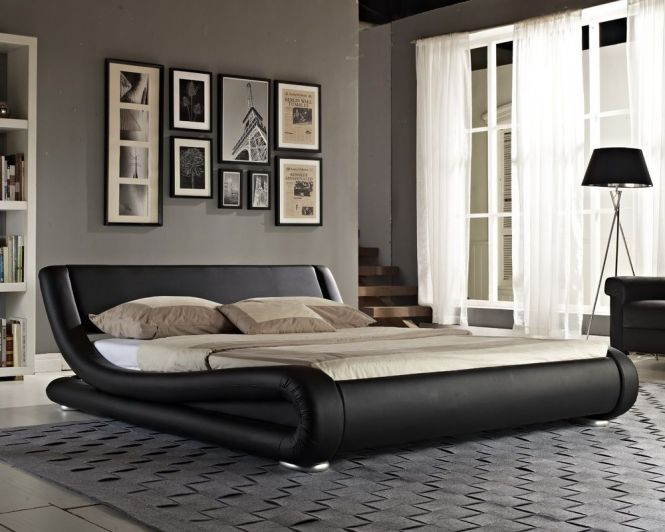 Double Bed Leather King Size Frame Stylish Italian Designer Memory Mattress