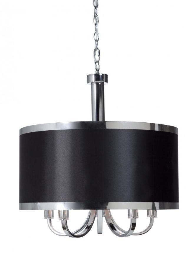 Five Light Chrome Black Shade Drum Chandelier Sc435bk Living Lighting Home Office