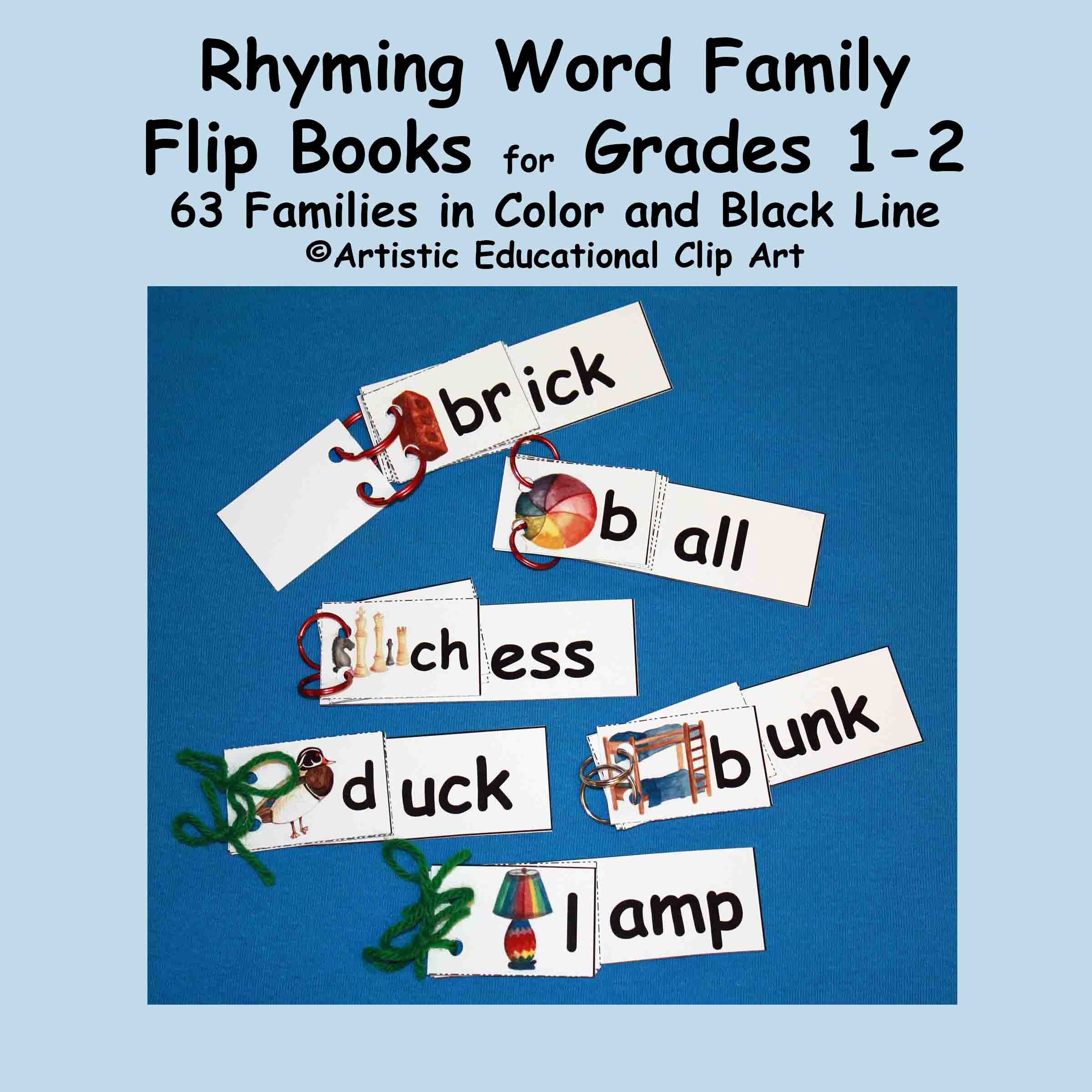 Rhyming Word Family Flip Books Grades 1 2 Phonics In Color And Bw