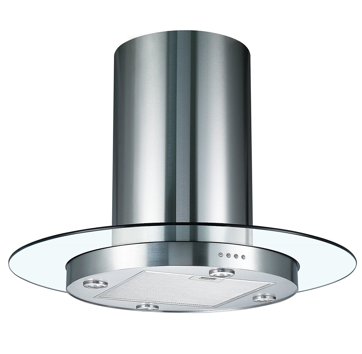 Cookology TUB900GL 90cm Round Glass  Stainless Steel
