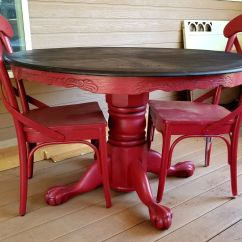 Painted Kitchen Chairs Counter Lamps Red And Glazed Clawfoot Round Pedestal Oak Dining