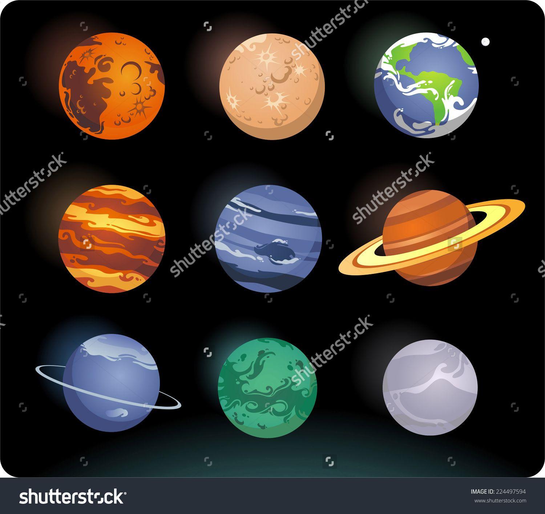 Solar System Cartoon Planets Stock Vector Illustration