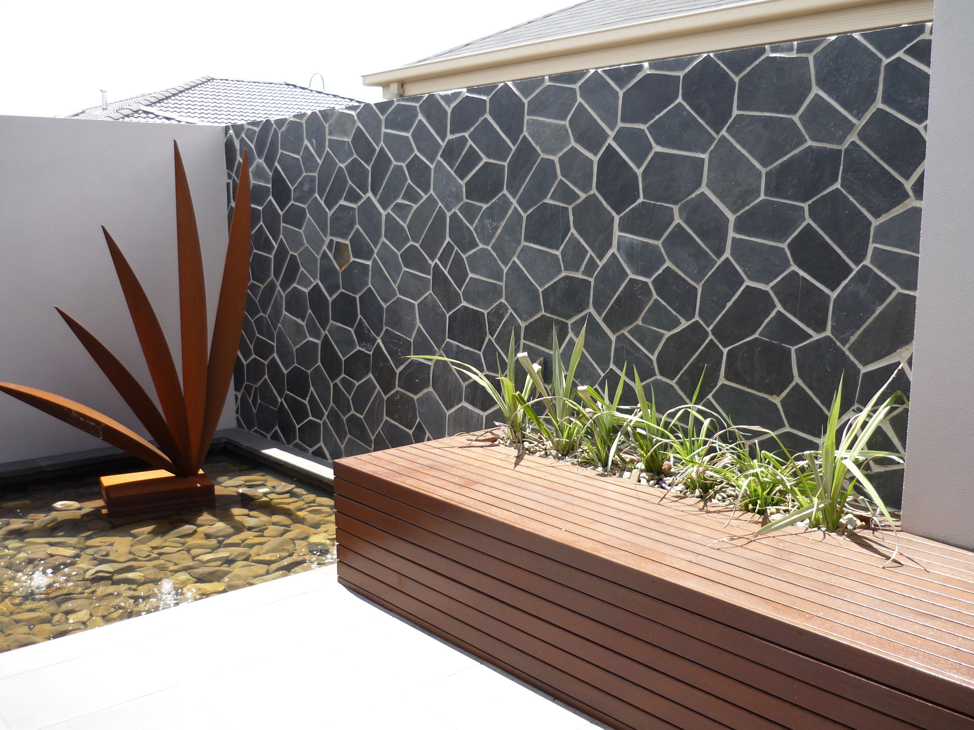 An Outdoor Feature Wall In Onyx Really Stands Out #backyard