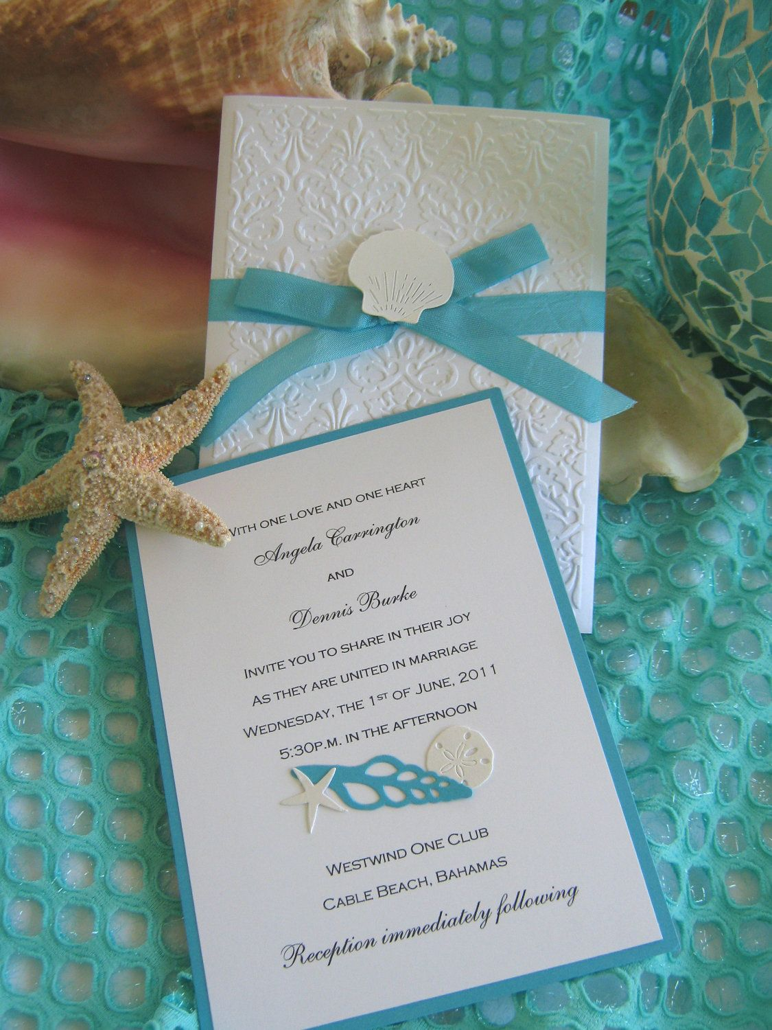 beach wedding chair decoration ideas moroccan chairs for sale seashell and lace invitation. $45.00, via etsy. | pinterest ...