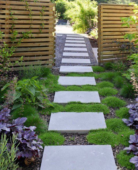 Love These Stones And Moss For The Side Yard Walkway That Is