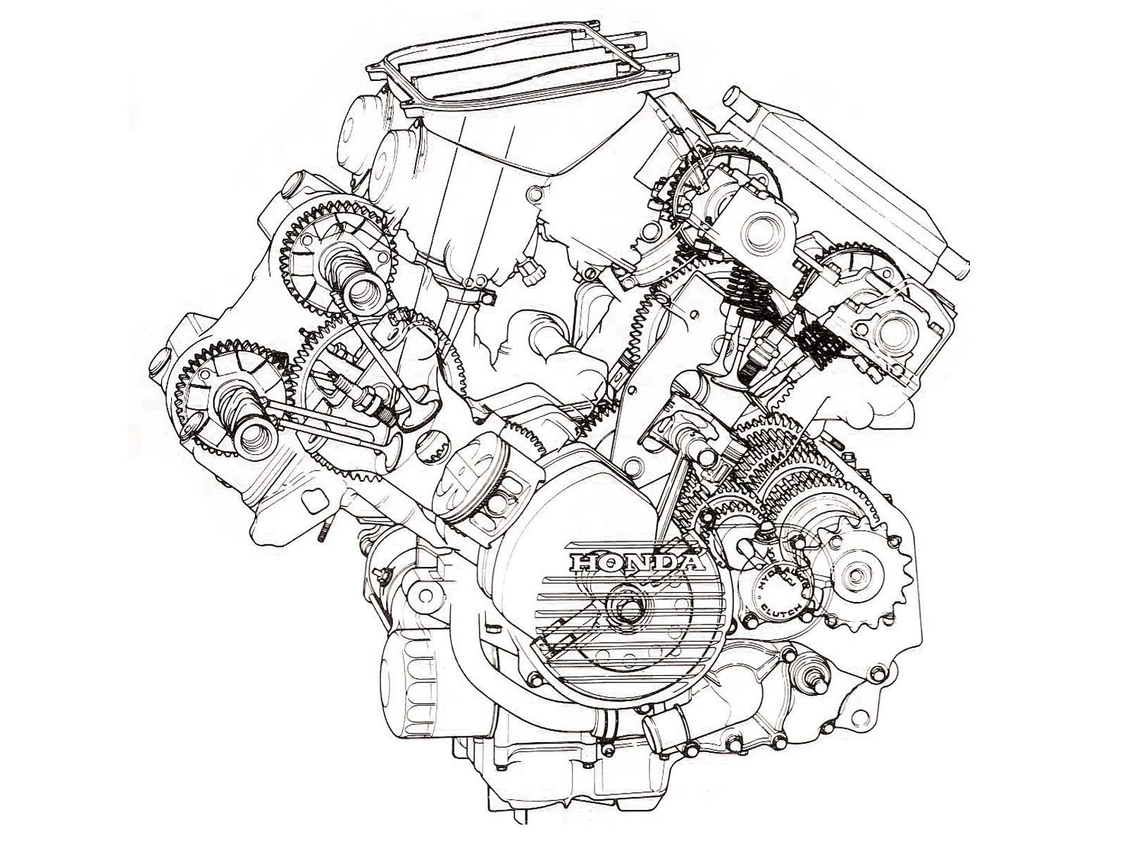 1986 Honda VFR750FG Interceptor V4 Motor Shot, geared cams