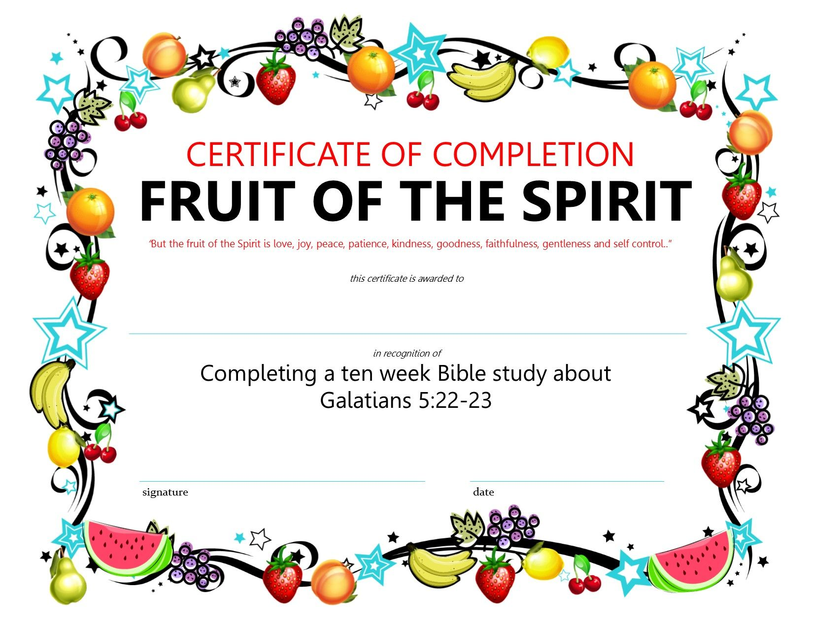 Certificate For Completing The Fruit Of The Spirit Lesson