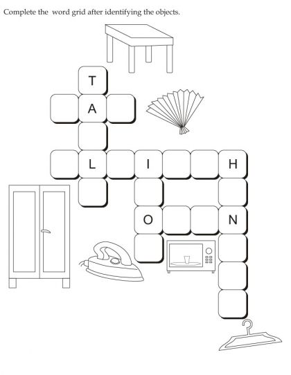 Download english activity worksheet Complete the word grid