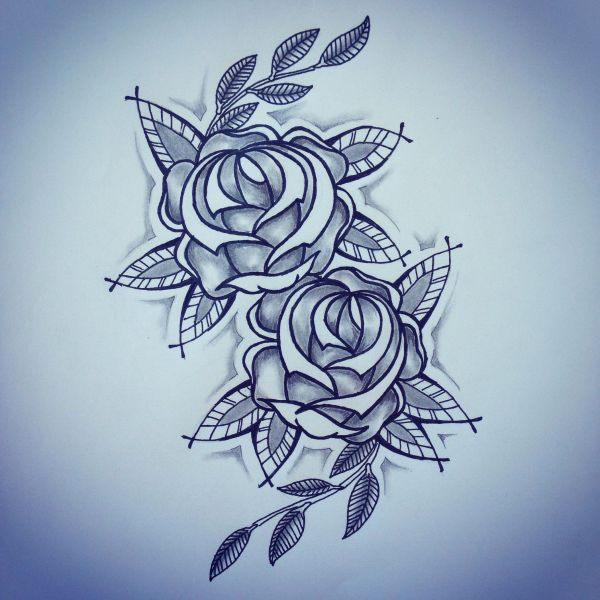 Traditional Roses Tattoo Sketch - Ranz