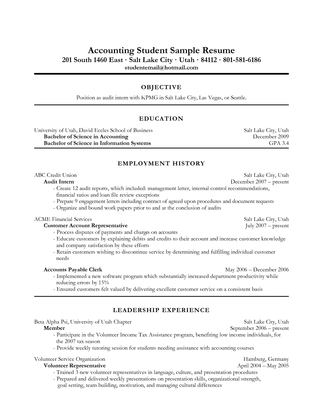 resume objective examples in accounting