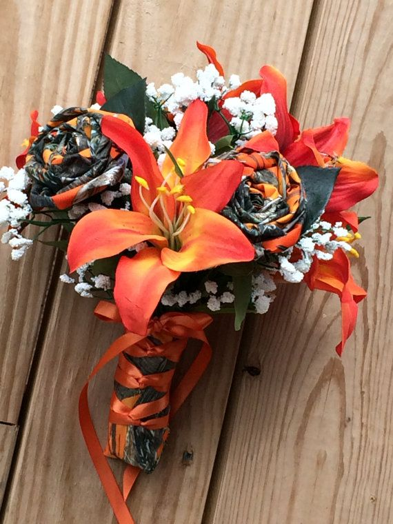 Camo Wedding Bouqet Orange Camo Orange Silk By