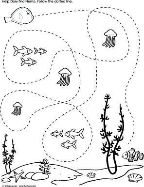 Help Dory find Nemo Tracing worksheet preschool