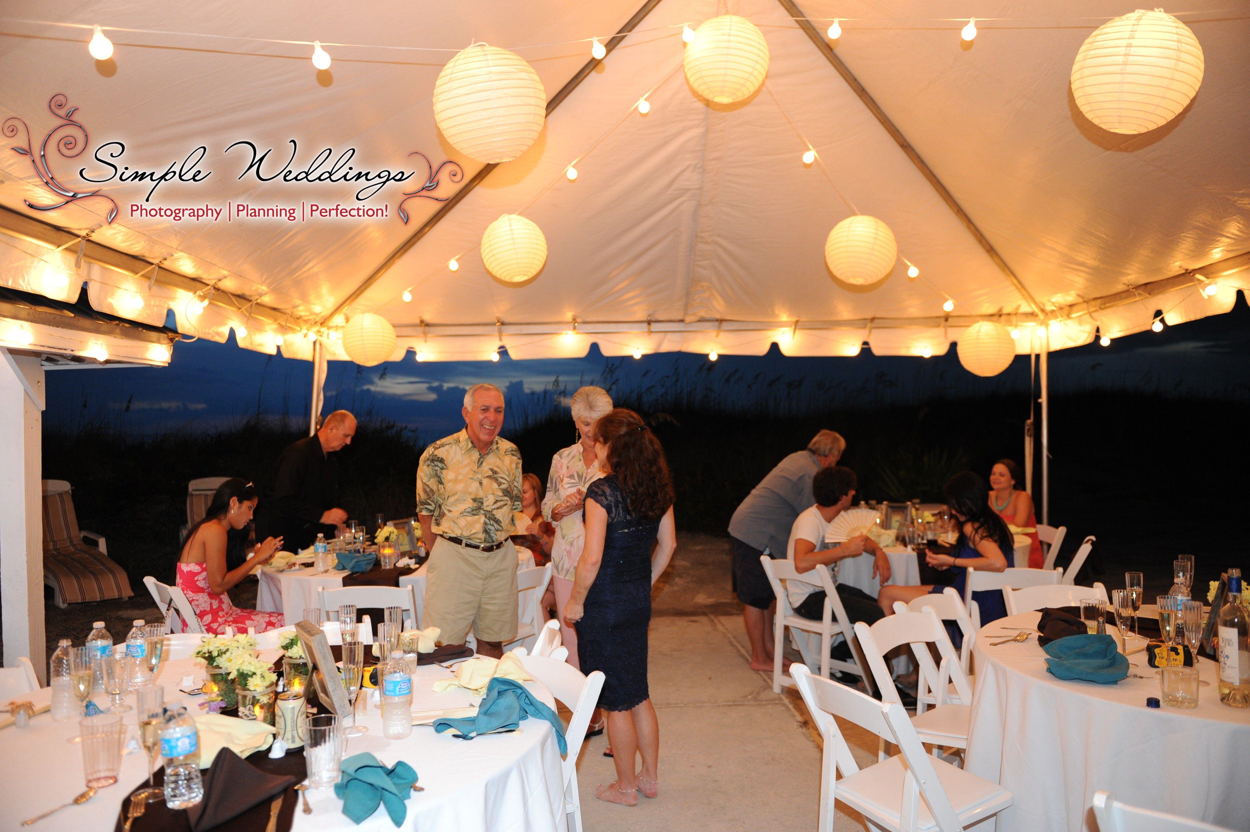 Tented Evening Beach Wedding Reception At The Serendipity Beach