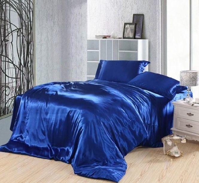 Royal Blue Duvet Covers Bedding Set Silk Satin California King Full Twin Double Ed Bed Sheet Bedspread Doona 5pcs