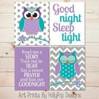 Purple Turquoise Nursery Decor Owl Nursery Wall Art Baby ...