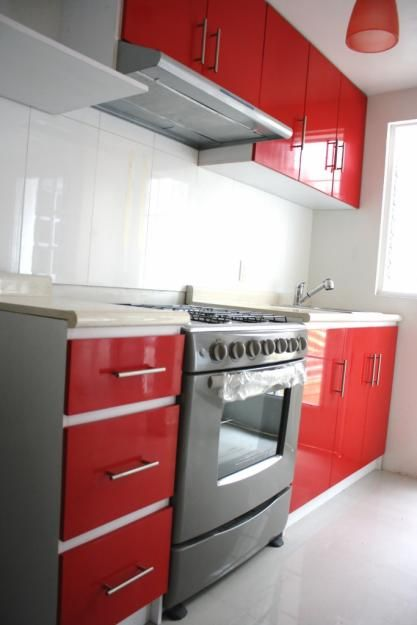 Cocina roja y gris  New House  Pinterest