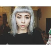 colored hair dyed fringe silver