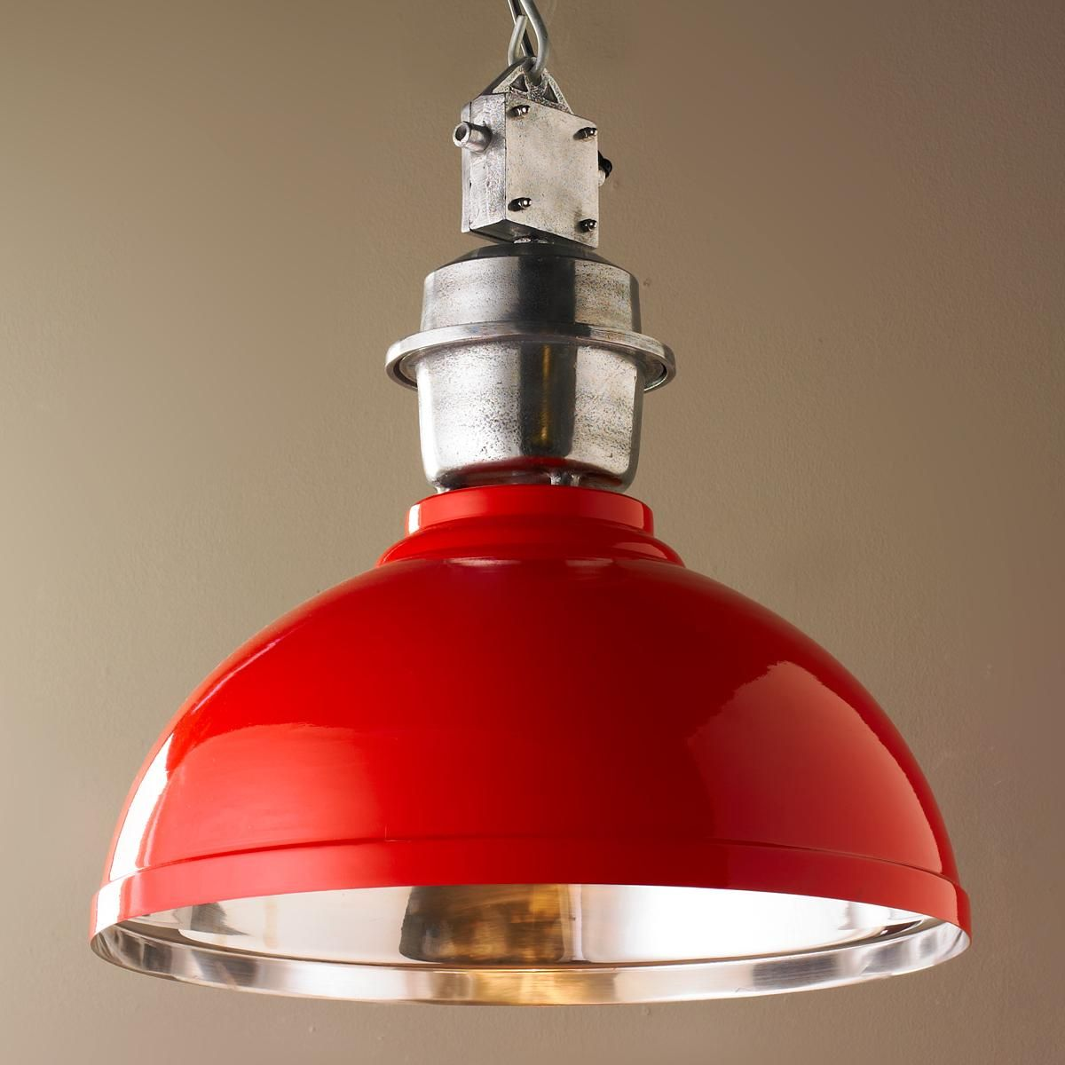 red kitchen light shades blanco sinks stainless steel industrial enameled shade warehouse pendant large
