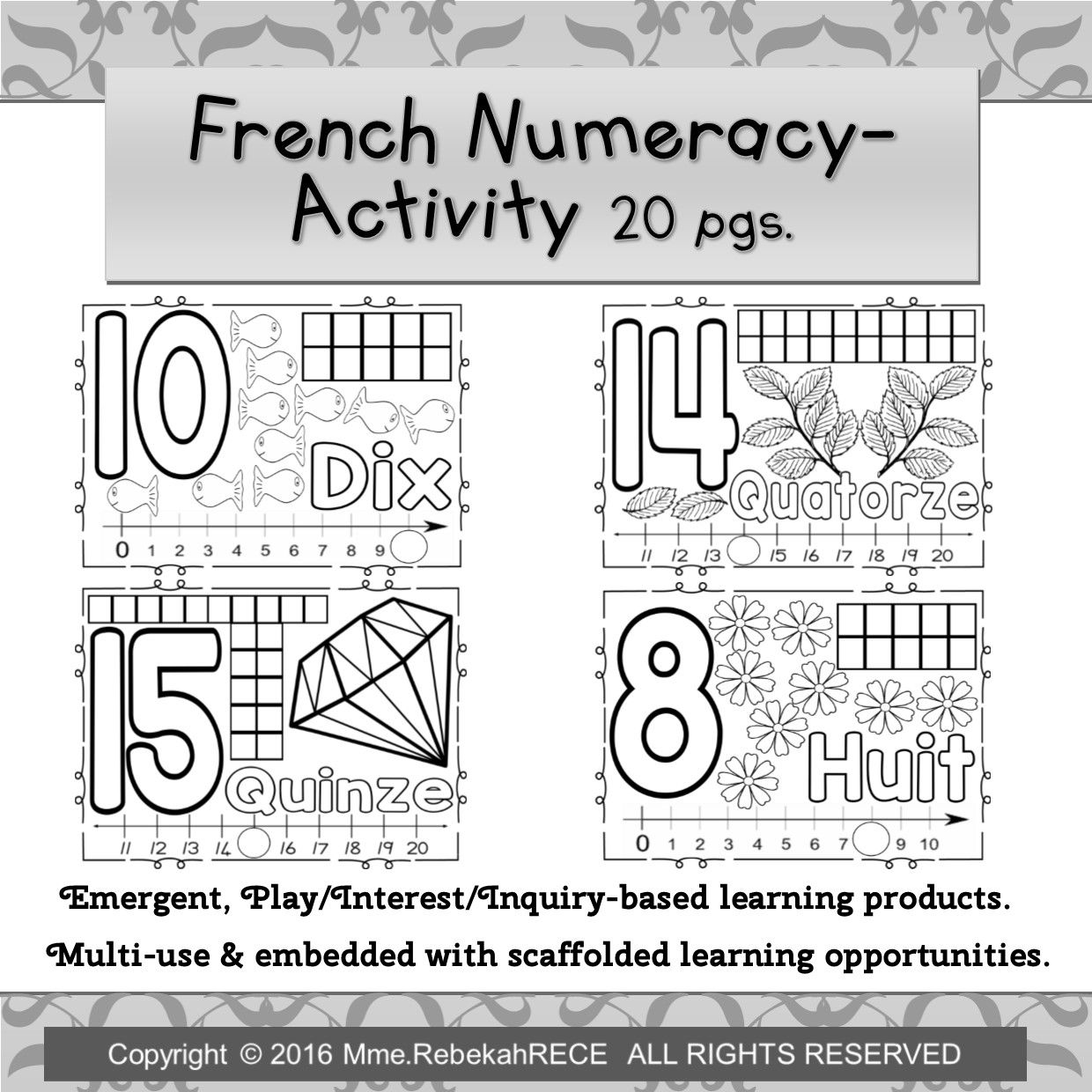 French Numeracy Activity 20 Pgs For Emergent Curriculum