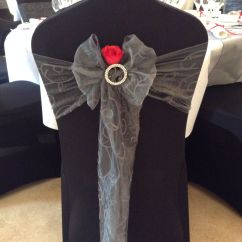 Buy Chair Covers And Sashes Dwell Posture Black Cover With Gunmetal Silver Sash Diamante