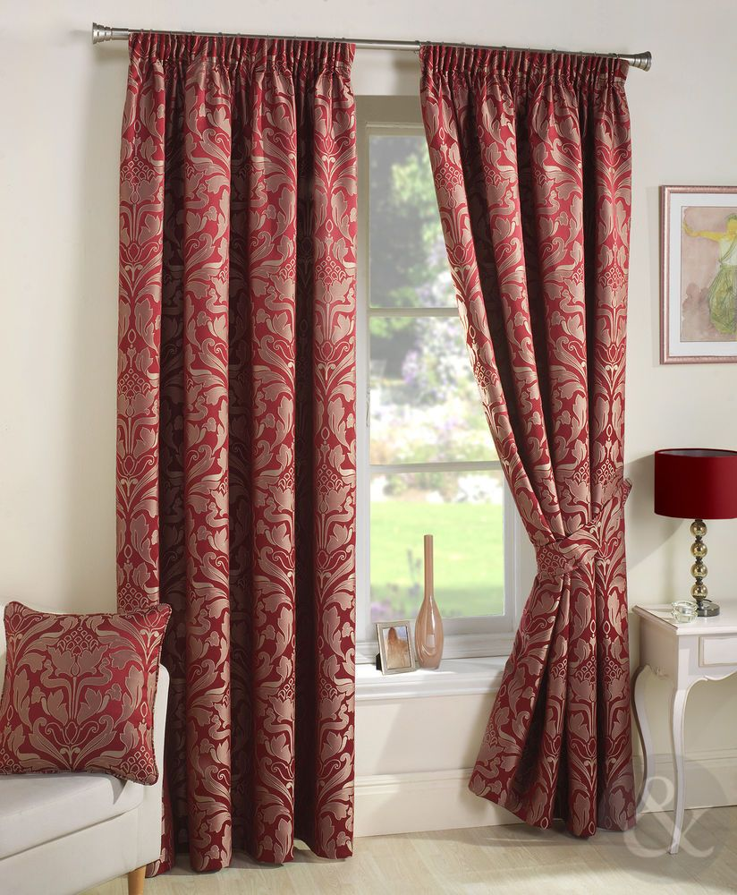 Details About Damask Jacquard Pencil Pleat Luxury Curtains Red