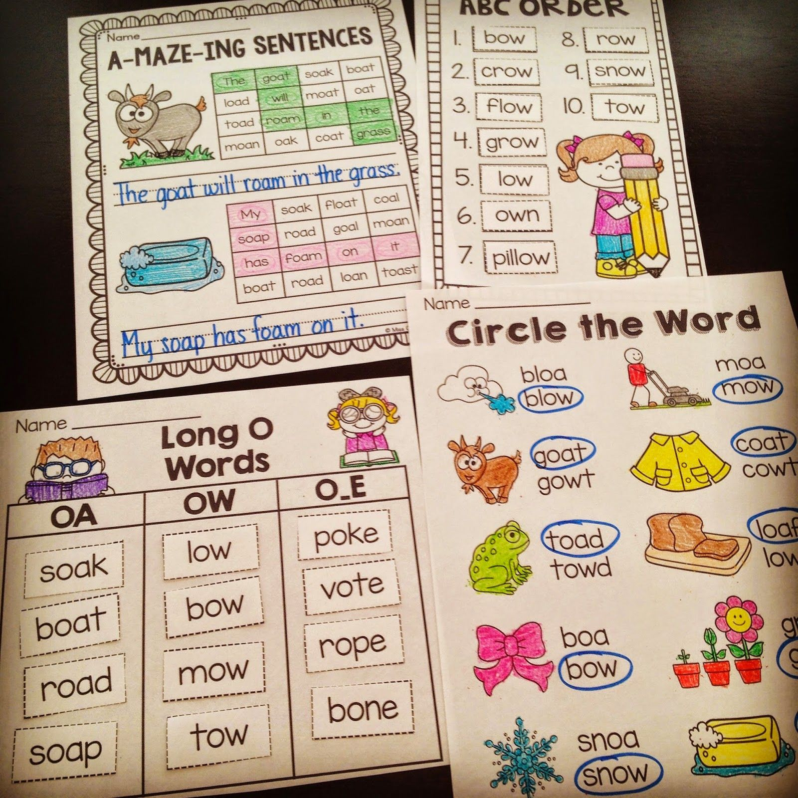 Awesome Oa Ow Worksheets And Activities To Teach The Long