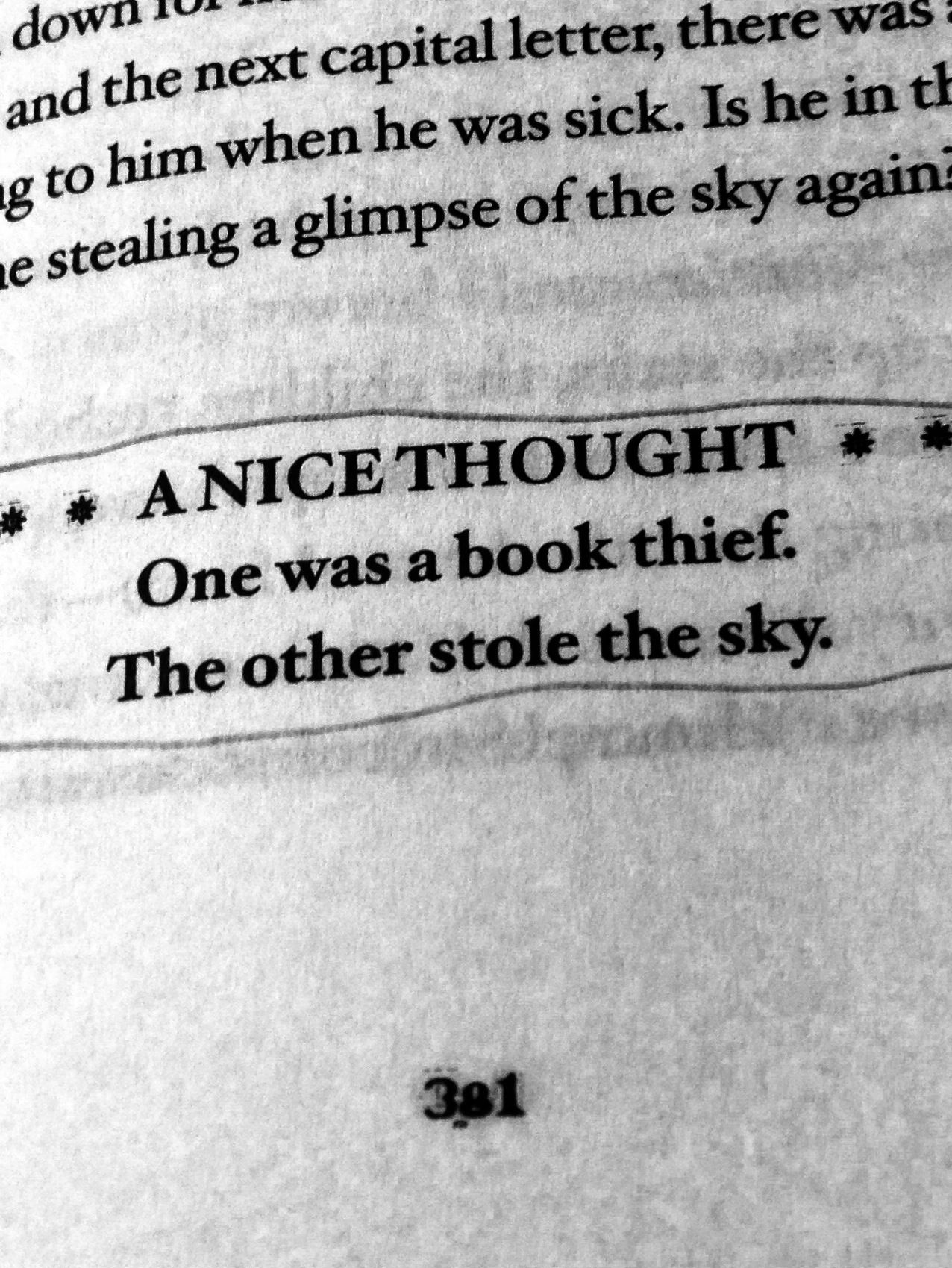 One Was A Book Thief The Other Stole The Sky One Of My