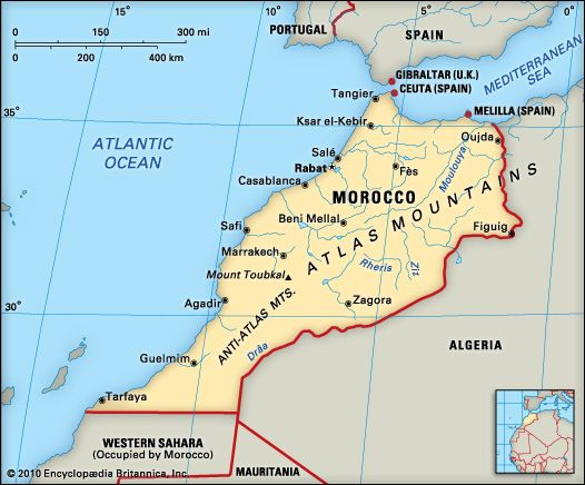 Geographic Map Iberia And Morocco