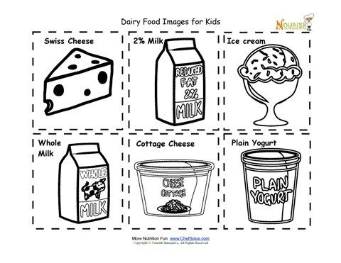 Dairy food cards for children. Food images for kids to cut