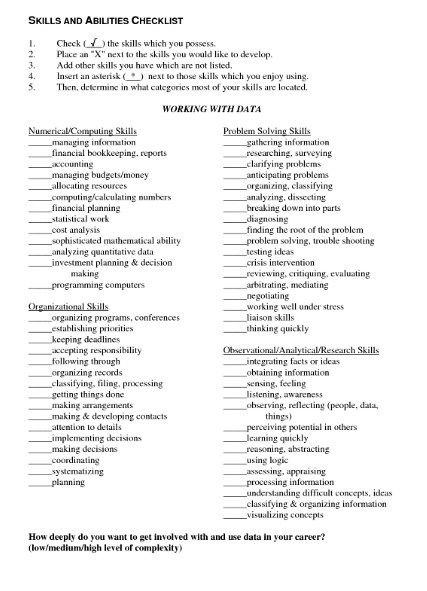 Sample Resume With Skills And Abilities Resume Skills And