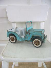 Vintage Metal Toy Truck Jeep Aqua Blue Boy Nursery Decor ...