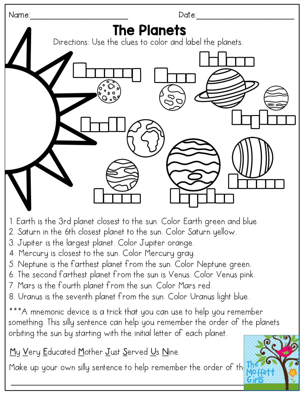 The Planets Read And Color Then Come Up With A Mnemonic