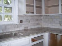 Backsplash combinations of shiny cobalt blue and pure